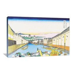 """Artsy Canvas - River Commerce 36"""" X 24"""" Gallery Wrapped Canvas Wall Art - River Commerce - Katsushika Hokusai (1760 beautifully represented on 36"""" x 24"""" high-quality, gallery wrapped canvas wall art"""