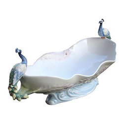 US - 17.75 Inch White Porcelain Tray with Perched Peacock Handles - This gorgeous 17.75 Inch White Porcelain Tray with Perched Peacock Handles has the finest details and highest quality you will find anywhere! 17.75 Inch White Porcelain Tray with Perched Peacock Handles is truly remarkable.