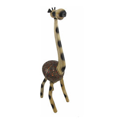 Recycled Coconut Shell Standing Giraffe Lamp Night Light - This hand crafted giraffe accent lamp adds a wonderful accent to your home, and it makes a great night light in children`s rooms. The body of the giraffe is made from a recycled coconut shell with dozens of holes drilled in it to let light shine through, while the head, neck, and legs are made of wood with rope accents. The lamp uses a night light style bulb (not included), has a rocker on/off switch, and measures 23 inches tall, 8 inches long, and 5 1/2 inches wide.