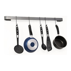 "Enclume - Rack It Up Long Utensil Bar - This 32""L x 2""W x 5""H Hammered Steel Metal Large Wall Mount Utensil Bar Pot Rack will keep your kitchen clean and clutter free. This decorative rack it up pot rack is especially designed for homes with smaller kitchens."