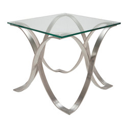 Nuevo Living - Orchid Side Table - Let the light shine through this beautiful glass side table. As the brushed stainless steel base creates a fluid design of intertwined legs, the tempered glass allows for an airy and open feeling. Place it next to your sofa or bed for a modern and chic look.