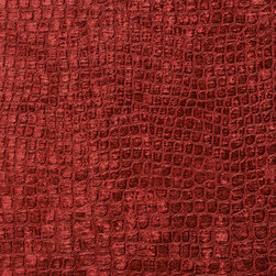 Burgundy Alligator Print Shiny Woven Velvet Upholstery Fabric By The Yard - This alligator velvet is truly unique in the way that it shines. In addition, it is very durable and comfortable too! This material is great for residential, commercial and hospitality upholstery.