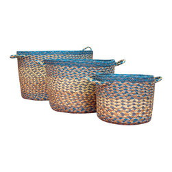 Earth Rugs - Aqua Blue Utility Basket (Set of 3) - Our Jute products are crafted with sustainably harvested jute, a fast-growing, renewable natural fiber. The jute is then hand braided into unique patterns.