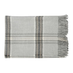 "Area Inc. - Jasper Soft Gray Throw Blanket, 51""x70"" - Area Inc. - Drape your couch, arm chairs or bed with this chic Jasper Soft Gray Throw Blanket. Featuring gray fringe and neutral-colored plaid, this blanket blends well with both bright and subdued color schemes. Made from 100% baby alpaca fiber, the blanket is irresistibly soft and cozy, but still light enough to use in warm weather seasons. Display it among rustic decor for a cohesive look. Dry clean only."
