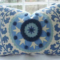 Decorative Pillow Cover, Suzani, Blue by The Cottage Cupboard - The print and texture on this Suzani pillow are unreal.
