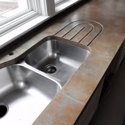 Turnbull/Walters - Concrete kitchen counters. Integral drainboard.