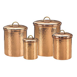 Old Dutch - Hammered Copper 4-piece Canister Set - Store pasta,cereal,and more using this four-piece copper canister set. These classy-looking canisters will look great placed on top of your kitchen counter and make it easy to hide boxes and packaging clutter. You can also fill them with bulk items.
