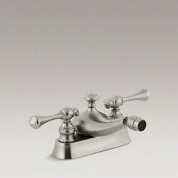 KOHLER - KOHLER Revival(R) centerset horizontal swivel spray spout bidet faucet with trad - The Revival collection's elliptical forms and rolled edges create a look that is classically romantic. This bidet faucet features traditional-style lever handles on a centerset design.