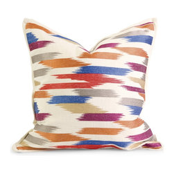 iMax - iMax IK Naledi Embroidered Pillow w/ Down Fill X-08124 - Iffat Khan has developed a luxurious collection of down pillows with fabulous beadwork and top of the line fabrics. Iffat's refined aesthetic is evident in her collection which combines clean modern, classic casual and timeless traditional styles with her own creative twist.