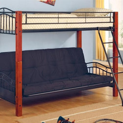 Coaster - Haskell Casual Twin Over Futon Bunk Bed - This contemporary metal and wood bunk bed offers twin top bunk and a stylish futon bottom bunk.  Two sleep spaces can easily be separated into two different beds for side-by-side sleeping instead of stacked bunk beds.  Ladder offers sturdy access to the top bunk.  This stylish sleeping solution is a beautiful focal point for any room.  This piece is exceptionally designed with dependable wood and metal to accommodate the most animated of sleepovers and birthday adventures. * NOTE: ivgStores DOES NOT offer assembly on loft beds or bunk beds. Mattresses not included. Twin over futon bunk bed. Metal sides and rails with wooden bed posts. Black metal with warm medium wood finish. Top twin bed and futon can be separated and used individually. Attached ladder to get up and down. Requires twin mattress with slat roll. Gentle arch and diamond motif. Square bed posts. Curved tubular ends and guard rails. Futon below can be used as a sofa or full size bed. 81 in. L x 54.75 in. W x 66 in. H. Warranty. Bunk Bed Warning. Please read before purchase.This lovely bunk bed will be a nice addition to the youth bedroom or spare bedroom in your home. Add this pretty bunk bed to your home for a warm and inviting look that everyone will love.