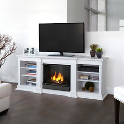 "Real Flame - Fresno Ventless Gel Fireplace in White - Uses clean burning Real Flame gel fuel emitting up to 9,000 BTUs of heat per hour lasting up to 3 hours.. Uses Only Real Flame 13oz Gel Fuel Cans, not included. Fireplace includes wooden mantel, firebox, hand painted cast-concrete log, and screen kit.. Fits up to a 50"" diagonal TV - 100lb. weight limit.. Solid wood and veneered MDF construction. Shelf dimensions: 17 x 14.5Enjoy the crackle and ambiance of a Real Flame fireplace, this substantial freestanding fireplace also doubles as an entertainment center. Available in dark walnut, white and black, this unit is able to hold a 50"" diagonal television of 100 lbs. or less and has adjustable shelving, to accommodate most electronics."