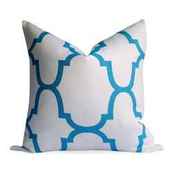 """Kravet Windsor Smith Riad Pillow Cover in Akuatik blue, 22""""x22"""" - Gorgeous large motif trellis pillow cover in aqua with an off white background. Printed on a luxurious heavier weight, 100% linen, home decor fabric. Size shown 20""""x20"""""""
