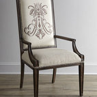 "Horchow - Two Donabella Insignia Armchairs - Traditional-style chair gets a dramatic upgraded when enhanced with an elegant insignia motif on front and back. Mixed hardwood frame. Polyester upholstery. Sold in pairs; each, 24""W x 26""D x 46""T. Imported. Boxed weight, approximately 37 lbs. ...."