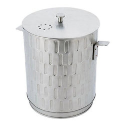 Minuteman International - Achla Designs Kitchen Compost Pail - CP-03 - Shop for Garden Equipment from Hayneedle.com! The Achla Designs Kitchen Compost Pail offers an ecological way to convert kitchen scraps into compost for the garden. Dump collected organic material from this pail into a composter to make fertilizer for plants and vegetables. Constructed of brushed stainless steel and includes a reusable plastic liner. Two replaceable carbon filters are included to eliminate odors. About ACHLA DesignsThis item is created by ACHLA Designs. ACHLA is a garden accessories company that emphasizes unique wood and hand-forged wrought iron European furnishings for the home and garden. ACHLA Designs continues to add beautiful and unique items year after year resulting in an unusually large product line. All ACHLA products are stocked in the company's warehouse for year-round prompt shipping. ACHLA Designs takes great pride in offering exceptional products and customer service.