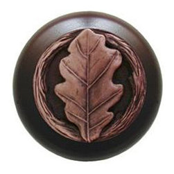 "Notting Hill - Notting Hill Oak Leaf/Dark Walnut Wood Knob - Antique Copper - Notting Hill Decorative Hardware creates distinctive, high-end decorative cabinet hardware. Our cabinet knobs and handles are hand-cast of solid fine pewter and bronze with a variety of finishes. Notting Hill's decorative kitchen hardware features classic designs with exceptional detail and craftsmanship. Our collections offer decorative knobs, pulls, bin pulls, hinge plates, cabinet backplates, and appliance pulls. Dimensions: 1-1/2"" diameter"