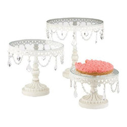 Midwest CBK - White Iron and Glass Cake Stands - Set of 3 - Decorative Metal Frames