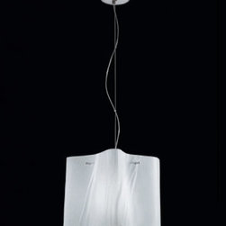 "Sillux - Sillux Venezia pendant light SP 7/238, 8/238 - The Venezia pendant light has been designed by Cierre Studio for Sillux. The Venezia series come with a chrome frame and an entirely handmade satin glass lampshade. Available in two colors. The Venezia adds elegance and uniqueness to any environment. The max. extension is 51 1/4""-55"" (130 - 140 cm)  Product description:  The Venezia pendant light has been designed by Cierre Studio for Sillux. The Venezia series come with a chrome frame and an entirely handmade satin glass lampshade. Available in two colors. The Venezia adds elegance and uniqueness to any environment. The max. extension is 51 1/4""-55"" (130 - 140 cm) Details:                         Manufacturer:             Sillux                            Design:                         Cierre Studio                                         Made in:            Italy                            Dimensions:                         small: Height: 6"" (15 cm) X Length: 7 1/8"" (18 cm)             medium: Height: 10 1/4"" (26 cm) X Length: 12 1/2"" (32 cm)                                         Light bulb:             small:1 x 60W Incandescent             large: 1 x 100W Incandescent                            Material             chrome, glass"