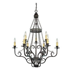 Jeremiah Lighting - Jeremiah Lighting 23629 9 Light Chandelier - Jeremiah Lighting 23629 Brookshire Manor 2 Tier ChandelierThe Brookshire Manor family of Lights creates a feeling of the old world charm with the use of draped chains and subtle scrolled metal treatment throughout the body of the fixture.  This charming look is further accented with amber etched glass shading and a unique designer banding on the hanging units. The Burnished Armor finish used is a deep bronze base coat with a touch of gold highlighting.    Features: