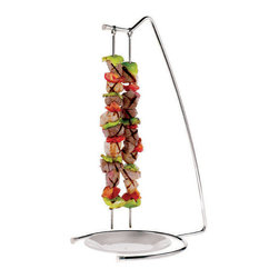 Paderno World Cuisine - Stainless-steel Set of Four Grill Skewers and Stand - This set includes 4 grill skewers and a stand. The skewer, designed to go straight from the grill to the table, usually holds assorted foods to create a dish by itself. It is made of stainless steel.