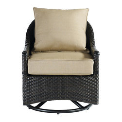 Ballard Designs - Amalfi Swivel Glider Club Chair Replacement Cushion - 2 Piece - Many delightful fabrics add up to endless summer options for your outdoor living space. All of our Outdoor Cushions are covered in fade resistant, stain resistant Sunbrella, 100% polyester or 100% acrylic fabric for lasting wear. Sizes fit most standard outdoor furniture.