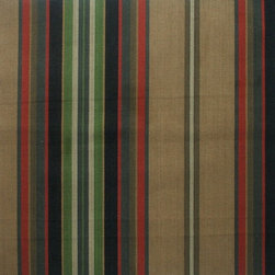 "Close to Custom Linens - 72"" Shower Curtain, Unlined, Carlton Stripe Night Black - Carlton Night is a varied-width stripe with muted shades of black, dark red, brown, green and tan."