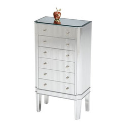 Bailey Street - Cinema Contemporary 6 Drawer Jewelry Cabinet w Mirror Top - Modern and sophisticated with urban inspired design elements, this contemporary jewelry cabinet will be a dynamic addition to your bedroom decor. It is made of hardwoods with mirrored side panels and drawer fronts for a pinstriped look as well as a sleek black glass top for added visual interest. Glass top. Six drawers. Stylish small lines. Made from plantation grown hardwoods, glass, acrylic and other wood products. Minor assemby required. 11 in. W x 19 in. D x 34 in. H