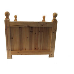 """Master Garden Products - Estate Square Cedar Wood Planter, 30"""" - Our estate white cedar wood square planters comes in sizes of 2"""" x 2"""" white cedar frame brackets, and 1"""" x 4"""" tongue and groove wall paneling. Square dados are cut into the frames and the tongue and groove wall panels are inserted into the 'U' channel to form a neat and strong structure. Constructed with both traditional mortise and tenon locking bolts and nuts to anchor all eight corners of the planter to hold heavy weight. All joints and connections between wood parts are glued and pressed to dry overnight.  The estate planter is handcrafted with solid turned ball finial at the top of corner posts, the bottom of the legs are chamfered with a groove line just right below it.   Finished with a coat of premium tung oil to protect them from harsh outdoor elements."""