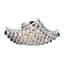 Destination Lighting - Modern Crystal Semi-Flushmount Ceiling Light - 14-Inches Wide - 2265 - Polished chrome finish ceiling light with royal cut clear crystals - 160 watts total. Takes (4) 40-watt incandescent flame bulb(s). Bulb(s) sold separately. UL listed. Dry location rated.