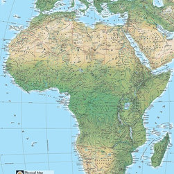 Magic Murals - Physical Map of Africa Wallpaper Wall Mural - Self-Adhesive - Multiple Sizes - M - Physical Map of Africa Wall Mural