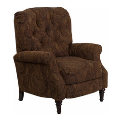 Flash Furniture - Flash Furniture Traditional Tobacco Fabric Tufted Hi-Leg Recliner - Traditional Tobacco Fabric Tufted Hi-Leg Recliner [AM-2650-6370-GG]