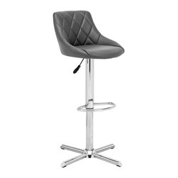 Zuo Modern - Devilin Barstool Gray - This stool is made with a chromed steel frame and leatherette wrapped seat and back cushions with adjustable height and a swivel base.
