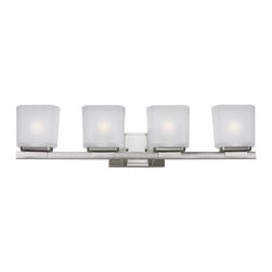 Z-Lite - Z-Lite Agra Bathroom Light X-V4-2003 - A set of four vanity lights displayed in square cube white frosted glass shades, with a brushed nickel finish for a fresh and modern look.