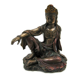 Guan Yin Seated Royal Pose Bronzed Finish Statue - Guanyin (Chinese: ??; pinyin: gu?n y?n; Wade-Giles: kuan-yin, Japanese: Kannon, Korean: Gwan-eum) is the bodhisattva associated with compassion as venerated by East Asian Buddhists, usually as a female. The name Guanyin is short for Guanshi`yin, which means `Observing the Sounds of the World`. This beautiful cold cast resin statue of Guan Yin in the seated Royal Ease pose is hand-painted with metallic bronze enamel to accent the detail of this stunning piece. The statue measures 7 1/2 inches tall, 6 1/2 inches wide and 5 inches deep. It looks great in living rooms, offices, bedrooms, even in kitchens.