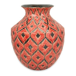 Morrocan Red Orange Oversized Wide Floor Vase - *The wide Azzura oversized floor vase features a warm Moroccan inspired raised pattern with a soft red/orange glazed finish.