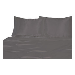 Ultra Soft Satin Silk Fitted Sheet Queen, Silver Grey - You are buying 1 Fitted Sheet (60 x 80 inches) only.