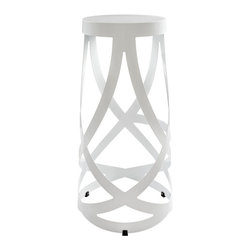 Modway Furniture - Modway Ribbon Barstool in White - Barstool in White belongs to Ribbon Collection by Modway Positioned firmly atop the impossible, Ribbon makes it easy to go where you didn��_��_��_��_��_��_t think you could. Molded from reinforced strips of coated aluminum, the stool introduces just the right amouneating for a trendy restaurant; Katonti exudes boundless chances for myriad conversations and animated debates. Whether a business meeting with a treasured client or a last minute lunch with a friend, pull up the cylind Barstool (1)
