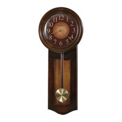 Howard Miller - Howard Miller Avery Wall Clock - 11.5 in. Wide Multicolor - 625385 - Shop for Clocks from Hayneedle.com! The dual-tone Howard Miller Avery Wall Clock boasts a handsome rustic cherry finish with a contrasting vintage umber inset panel. Beneath a convex glass crystal the dial features a two-color wood-tone dial with gold Arabic numerals and aged brass-tone spade hands. The wood stick pendulum features a spun brass-finished bob. Quartz battery-operated movement ensures years of use.We are an authorized Howard Miller dealer providing you with a vast selection of celebrated clocks. We also provide peace of mind with a White Glove delivery service that will deliver your new clock into your home or office not just at the front door. We understand that choosing the perfect grandfather clock is a decision that will last your family for generations. Shop with confidence and find the crown of your heirloom collection with a company you can trust. Thank you for complementing your lifestyle with our company's fine products.About Howard MillerBeginning in the 1920's Howard Miller clocks have impressed all who see them with superior quality and design. Howard Miller wall floor and mantel clocks are crafted to last for generations and to perfectly accent your home.The company's founder Howard C. Miller began manufacturing wall and mantel clocks in Michigan. Evolving to encompass cabinet making and other furniture design - all renowned for quality and style - the Howard Miller company proudly stands behind its reputation as the World's Largest Clock Manufacturer.