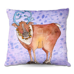 DiaNoche Designs - Pillow Linen - Marley Ungaros Reindeer Purple - Add a little texture and style to your decor with our Woven Linen throw pillows. The material has a smooth boxy weave and each pillow is machine loomed, then printed and sewn in the USA.  100% smooth poly with cushy supportive pillow insert with a hidden zip closure. Dye Sublimation printing adheres the ink to the material for long life and durability. Double Sided Print, machine wash upon arrival for maximum softness. Product may vary slightly from image.