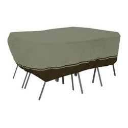 Classic Accessories 90 in. Rectangular Table and Chair Cover - Birch - Extend the life of your patio set and keep it looking great with the 90 in. Rectangular Table and Chair Cover – Birch. This cover is designed to protect both the chair set and the table. Made of WeatherPro 3-ply poly fabric, this cover features handles for easy use, air vents to reduce lofting, and elastic corners for a secure, custom fit. It slips on and off easily and is ideal for daily covering or extended storage.About Classic AccessoriesFounded from small beginnings, Classic Accessories has grown in the past 30 years from a small basement operation in Seattle's Roosevelt neighborhood making seatbelt pads and steering wheel covers, to a successful and expanding company now making a wide variety of products from car to boat covers and much more. Innovative, stylish designs define products that are functional and made to last. From little details to the largest innovations, Classic Accessories is always moving forward and looking to provide cover and storage solutions to a clientele that has a passion for the outdoors, from backyard gatherings to exciting camping trips, Classic Accessories provides the products that keeps your equipment looking great all season long.