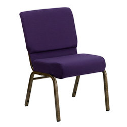 Flash Furniture - HERCULES Series 21'' Extra Wide Royal Purple Stacking Church Chair with 4'' Thic - This HERCULES Series Church Chair will add elegance and class to any Church, Hotel, Banquet Room or Conference setting. If you are looking for a chair with comfort and style that is easy to move and stores away with ease, then look no further. This built to last chair has a 16-gauge steel frame that has been tested to hold 800 lbs. This church chair features double support bracing, ganging clamps, a cushion that graduates to a 5'' thick waterfall edge and plastic floor glides to protect non-carpeted floors. Our church chair is manufactured by one of the most reputable stack chair manufacturers in the industry, you can be assured of the quality of this chair offered to you.