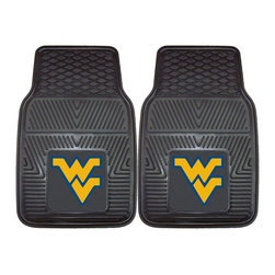 Fanmats - Fanmats West Virginia 2-piece Vinyl Car Mats - Mountaineer fans wont want to pass up these vinyl car mats. Emblazoned with the West Virginia University logo, you can show your school spirit every time you get into your vehicle. The set was made in the USA and includes driver and passenger mats.