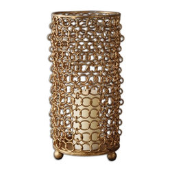 Matthew Williams - Matthew Williams 19806 Dipal Gold Transitional Candle Holder - Made of gold leaf metal with a distressed beige candle included.