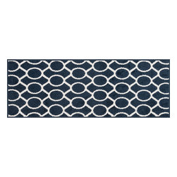 "Loloi Rugs - Loloi Rugs Terrace Collection - Navy / Ivory, 3'-0"" x 3'-0"" Round - Bold design and bright colors come together beautifully in the outdoor-friendly Terrace Collection. Each Terrace rug is power loomed in Egypt of 100% polypropylene that's specially treated to withstand rain and UV damage without staining or fading color._"