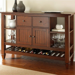 Steve Silver - Steve Silver Bolton Server - Medium Oak - BO400SV - Shop for Buffets and Side Boards from Hayneedle.com! A friendly way to store in style the Steve Silver Bolton Server - Medium Oak has a casual country vibe and plenty of storage options. Display or store on the four open shelves and the lower slatted shelf boasts plenty of space for wine bottles. Two drawers and two paneled cabinet doors let you tuck away items to keep things tidy. This server is made of solid hardwoods in a medium oak finish with handsome burnishing.About Steve SilverSince its founding in Forney Texas in 1987 the Steve Silver Company has had a simple focus: to provide the best quality product at an irresistible price back it up with uncompromising service and continue to improve every day. As one of the premier suppliers of dining sets and occasional furniture in the country Steve Silver is proud to make you the customer its top priority utilizing state-of-the-art equipment proven operating procedures and over 500 000 square feet of facilities. You'll feel equally proud displaying furniture from the Steve Silver Company in your home.