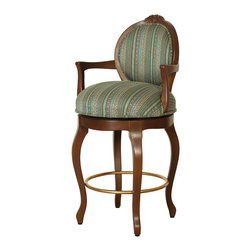 """Louis XV Bar Chair - Louis XV Bar Chair. Style no: BA20505. 21""""w x 23""""d x 46""""h. Seat Height: 30"""". Material: Wood. Footrest: Brass. Carving by hand. Seat Cushion: 8-way hand-tied springs. Seat swivels. Fabric: COM. Custom sizing available. Designed by Shah Gilani, ASFD."""