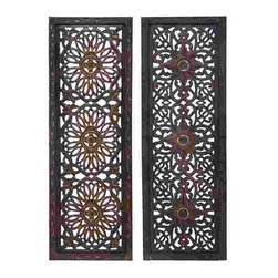 UMA - Open Carvings Wood Wall Panels Set of 2 - Two panels, each with a different design, feature repeated patterns with floral and open grid style designs.