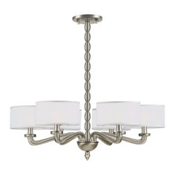 Crystorama - Luxo 6 Light Chandelier With Silk Mini Drum Shades - From kitchens to kids rooms to dining rooms and urban lofts, our Luxo collection brings understated luxury to any room.