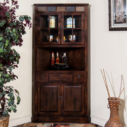 Sunny Designs - Santa Fe Corner China Cabinet - Santa Fe Corner China Cabinet; Distressed birch solids and veneers; Natural African Slate; 2 Waterfall Glass door; 1 Utility drawer; Weight: 136.87 lbs; Dimensions:36x14x76H
