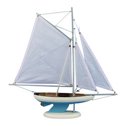 "Handcrafted Nautical Decor - Bermuda Sloop Light Blue 17"" - Wooden Sailboat Centerpiece - Not a Model Ship Kit"