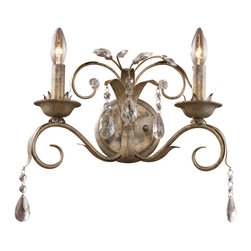 Elk - Angelite 2-Light Sconce in Weathered Silver - Visually flowing with harmonious balance, this angelic series is delicately detailed with a Weathered Silver (WS) finish and highlighted with brilliant crystal accents. Exquisite scrolled arms with gentle leaf accents, provides uncommon beauty.